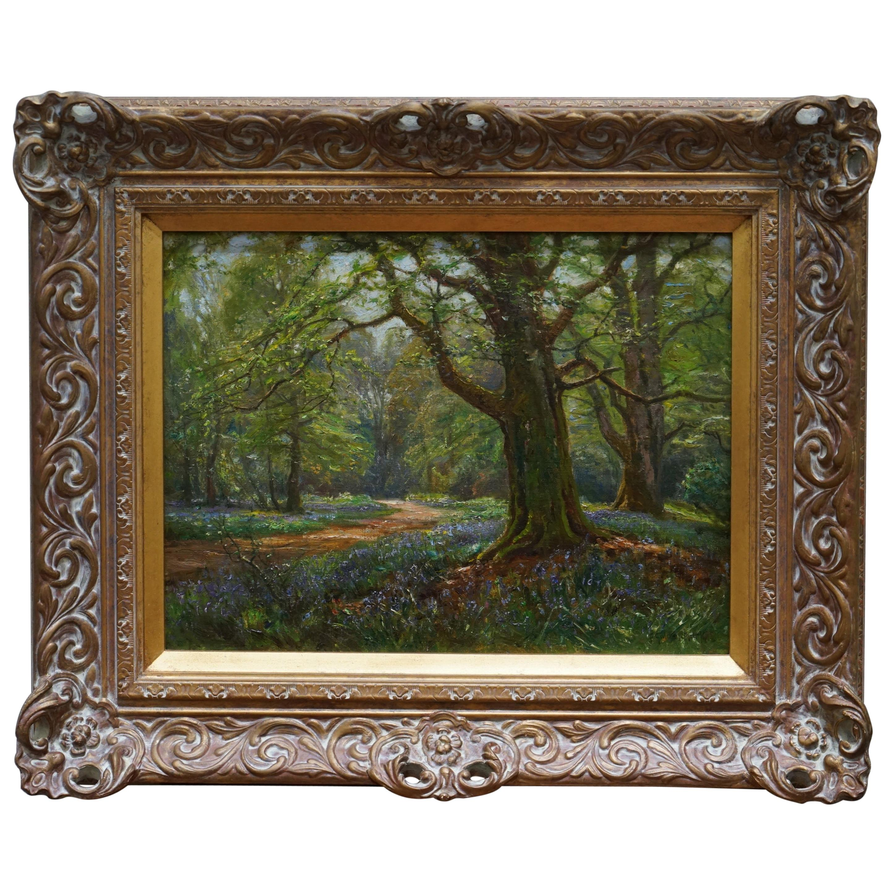 Frederick Golden Short New Forest Bluebell Wood Signed & Dated 1912 Oil Painting