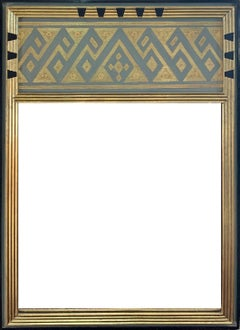 Mirror in Handcrafted Wood and 22 Karat Gold Frame, American, 1920's, Signed