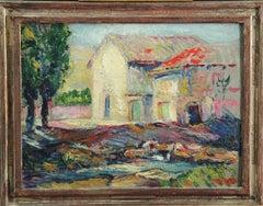 Washerwomen, Handcrafted Harer Frame, American Impressionist Landscape, Figures