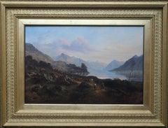 Scottish Loch - British 19thC art landscape oil painting cattle herders eventide