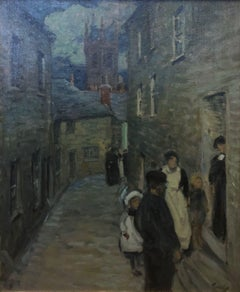 """Street Scene, St. Ives, 1906"" Vintage Antique English Town Scene"