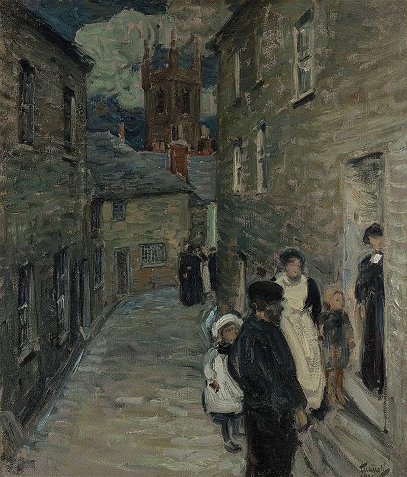 """Street Scene, St. Ives,"" Vintage Antique Impressionist English Seaside Town"