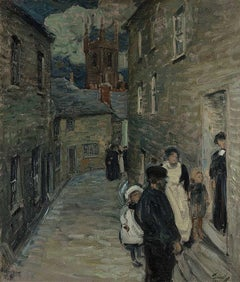 """Street Scene, St. Ives,"" Vintage Antique Impressionist English Seaside Town"