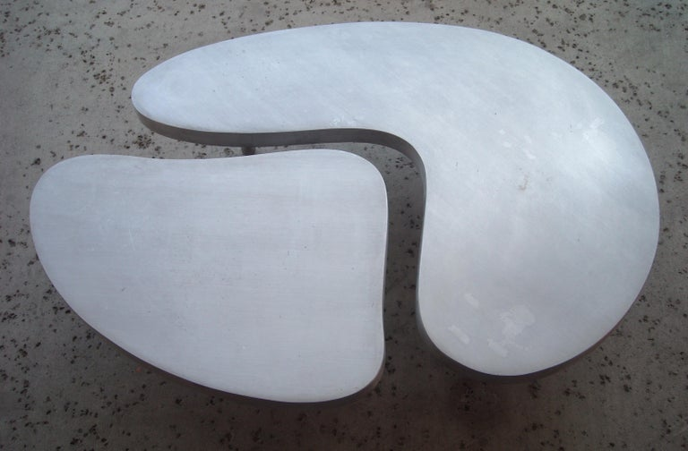 Modern Frederick Kiesler, Cast Nesting Aluminum Coffee Tables 2 Parts, Biomorphic Cloud For Sale