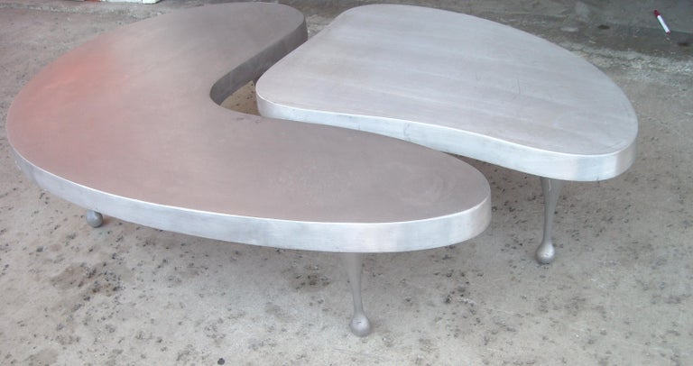 Unknown Frederick Kiesler, Cast Nesting Aluminum Coffee Tables 2 Parts, Biomorphic Cloud For Sale