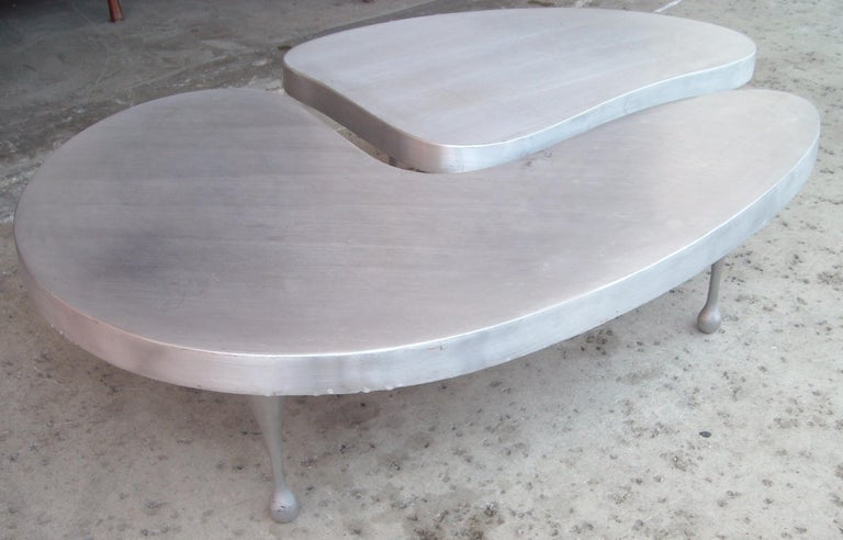 Frederick Kiesler, Cast Nesting Aluminum Coffee Tables 2 Parts, Biomorphic Cloud For Sale 1
