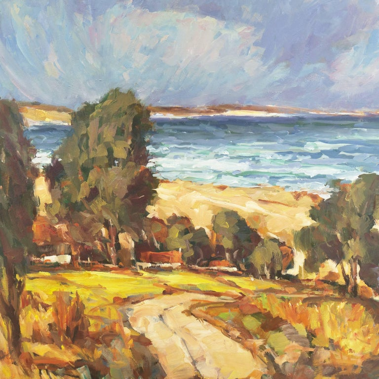 'Elsonore Coast and the Øresund Straits, Denmark', SFAA, California Artist - Post-Impressionist Painting by Frederick Korburg