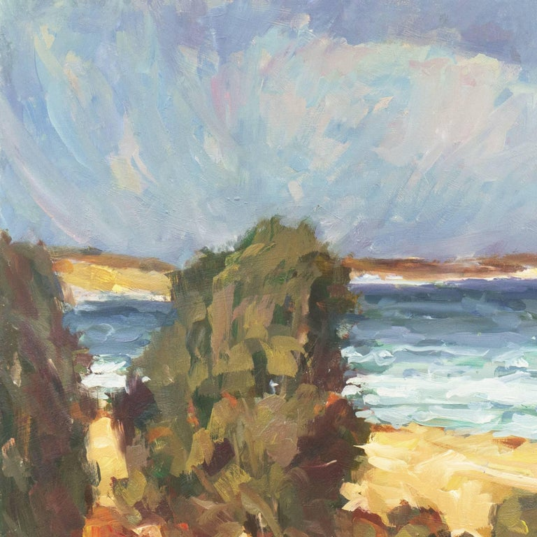 'Elsonore Coast and the Øresund Straits, Denmark', SFAA, California Artist - Brown Landscape Painting by Frederick Korburg