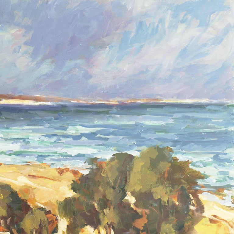 Signed lower right, 'Fred Korburg' and dated 1969; additionally signed, dated and titled verso, 'Coast at Elsinore, Denmark'. Provenance: Los Robles Galleries, Palo Alto, California.   Born in Denmark, Frederick Korburg first studied at the Graphic