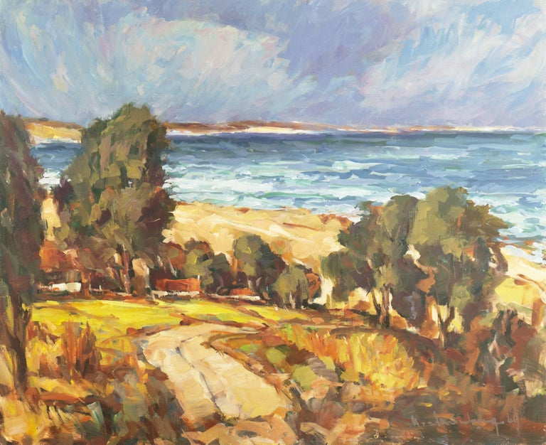 Frederick Korburg Landscape Painting - 'Elsonore Coast and the Øresund Straits, Denmark', SFAA, California Artist