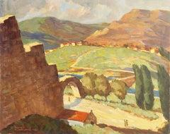 Post-Impressionist oil, 'Ramparts at Bologna Castle, France', California artist