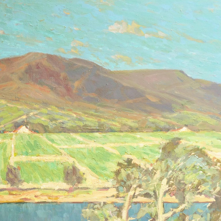 'Vineyards along the Moselle River', Germany, California Post-Impressionist  For Sale 1