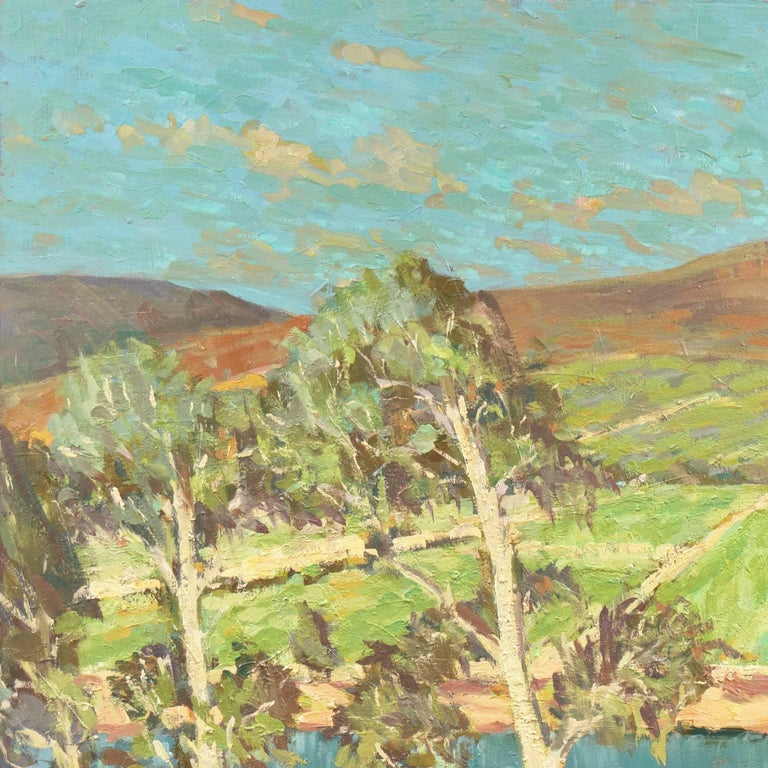 'Vineyards along the Moselle River', Germany, California Post-Impressionist  For Sale 2