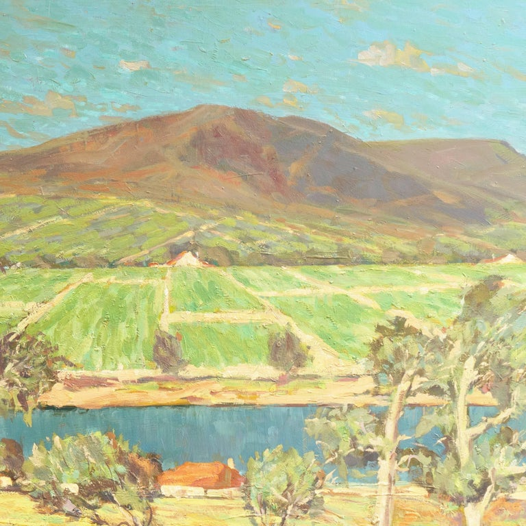 'Vineyards along the Moselle River', Germany, California Post-Impressionist  For Sale 3
