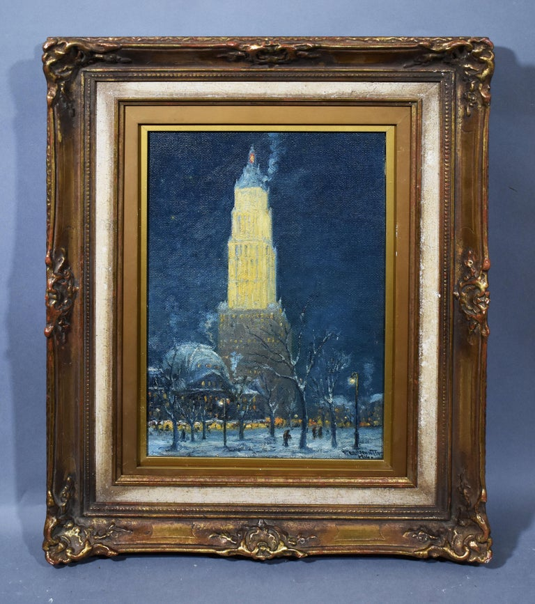 Antique American Ashcan School 1916 New York City Nocturnal Winter Cityscape  - Painting by Frederick Leo Hunter