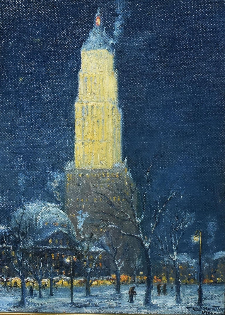 Antique American Ashcan School 1916 New York City Nocturnal Winter Cityscape  - Impressionist Painting by Frederick Leo Hunter