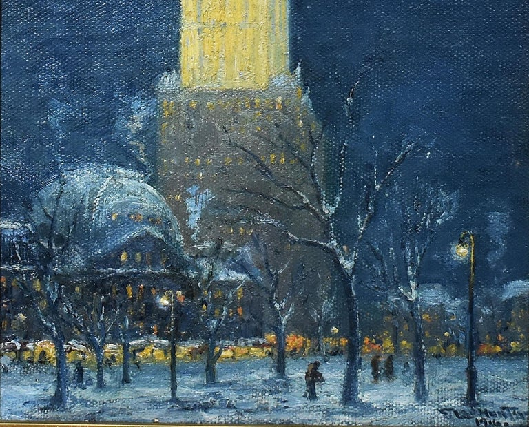 Antique American impressionist painting of New York City by Frederick Leo Hunter  (1858 - 1943).  Oil on canvas, circa 1916. Signed lower right.  Displayed in an impressionist frame. Image size, 8