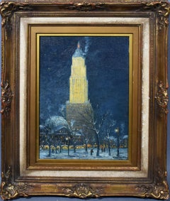 Antique American Ashcan School 1916 New York City Nocturnal Winter Cityscape