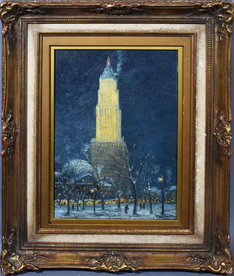 Frederick Leo Hunter Landscape Painting - Antique American Ashcan School 1916 New York City Nocturnal Winter Cityscape