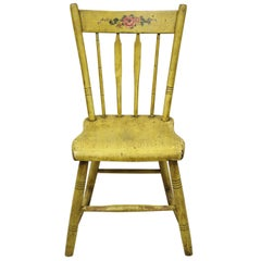 Frederick Loeser & Co Yellow American Primitive Hitchcock Painted Side Chair 'A'