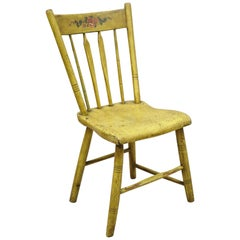 Frederick Loeser & Co Yellow American Primitive Hitchcock Painted Side Chair 'B'