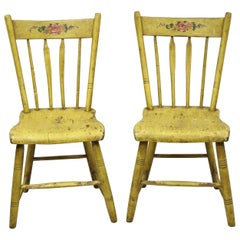 Frederick Loeser & Co Yellow Primitive Hitchcock Style Side Chairs, Pair 'A'