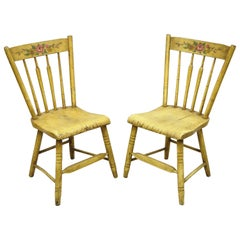 Frederick Loeser & Co Yellow Primitive Hitchcock Style Side Chairs, Pair 'B'
