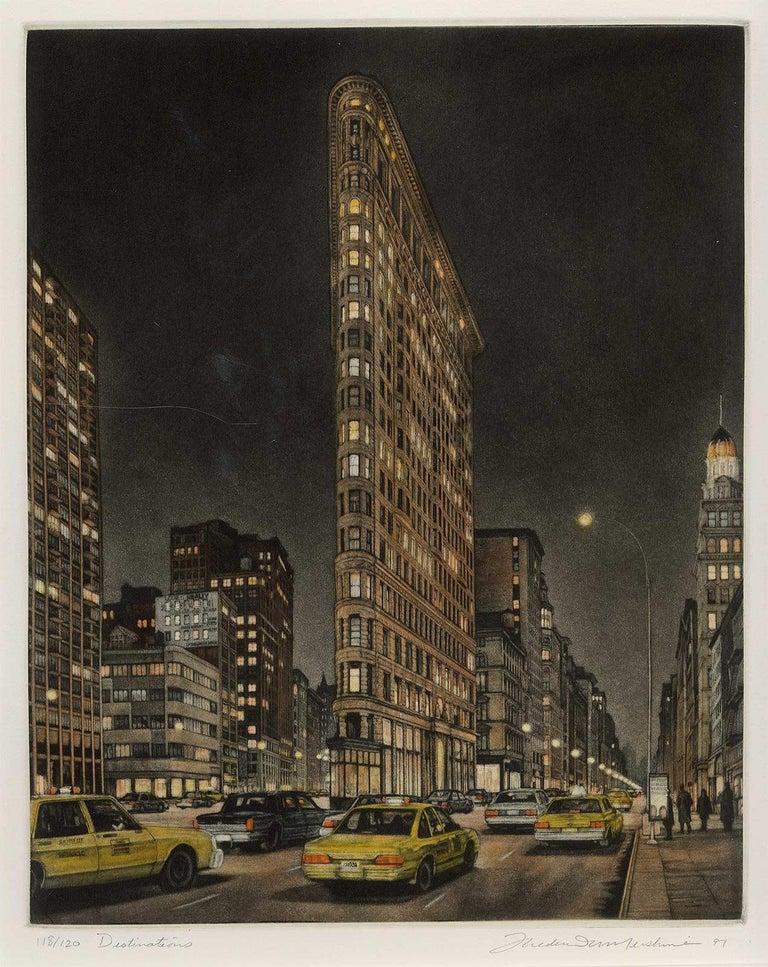 Destinations (Flatiron Bidg, 5th Avenue and Broadway at 23rd Street) - Black Landscape Print by Frederick Mershimer