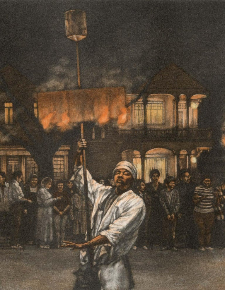 Fire Dance (Flambeaux carriers light the path of Endymion parade in New Orleans) - Print by Frederick Mershimer