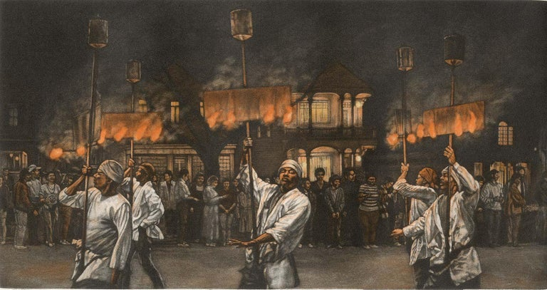 Frederick Mershimer Figurative Print - Fire Dance (Flambeaux carriers light the path of Endymion parade in New Orleans)