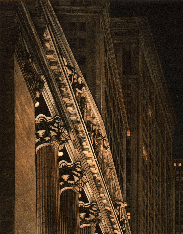 High Finance (a lonely night on Wall Street) - Print by Frederick Mershimer