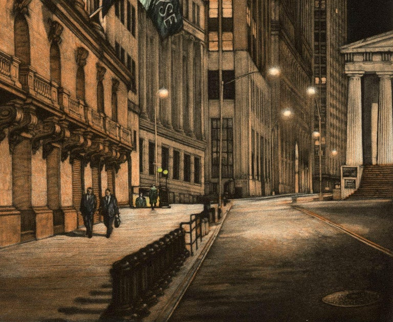 High Finance (a lonely night on Wall Street) - American Modern Print by Frederick Mershimer