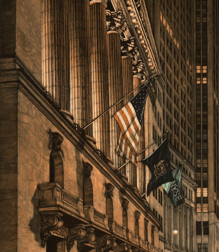 High Finance (a lonely night on Wall Street) - Black Landscape Print by Frederick Mershimer