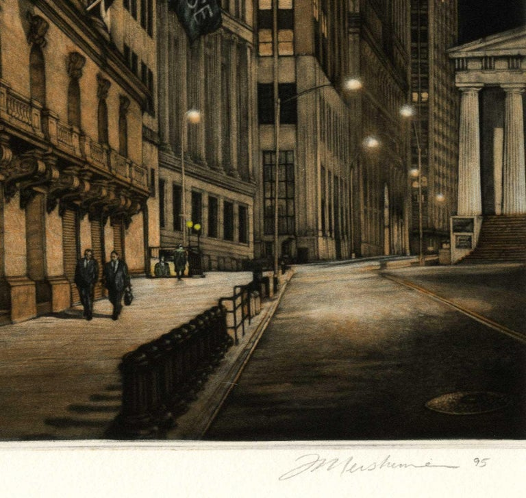 The New York Stock Exchange is seen from Broad St looking north toward Wall St.  The verticality of the image along with its title suggest that everything is soaring upward.  The stone figures on the pediment of the building lean out over the