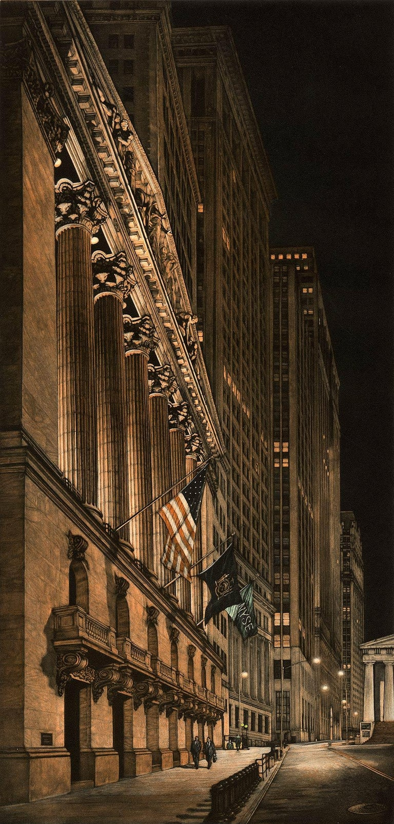 Frederick Mershimer Landscape Print - High Finance (a lonely night on Wall Street)