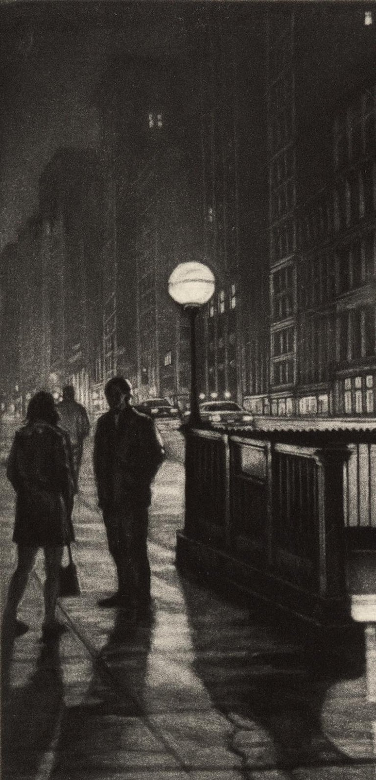 Into the Night (a lone male emerges from a subway stop by the Flatiron Building) - Print by Frederick Mershimer