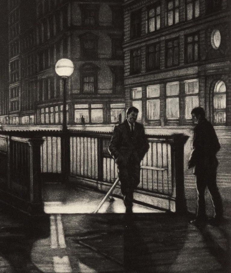 Into the Night (a lone male emerges from a subway stop by the Flatiron Building) - American Modern Print by Frederick Mershimer
