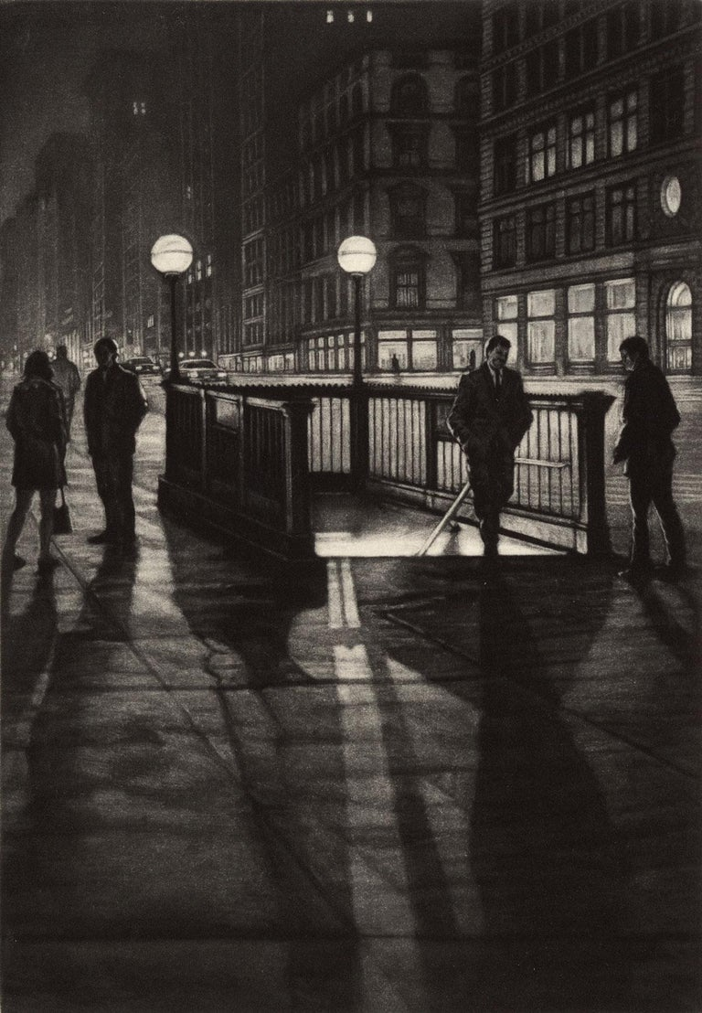 Frederick Mershimer Figurative Print - Into the Night (a lone male emerges from a subway stop by the Flatiron Building)
