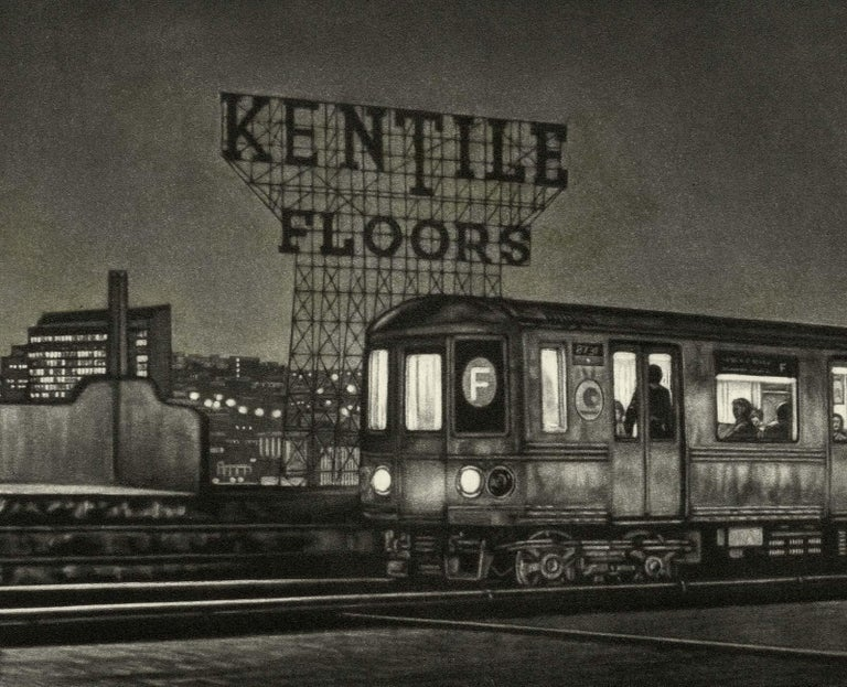 Manhattan Bound (the F train pulling into the Smith and 9th street station) - Print by Frederick Mershimer