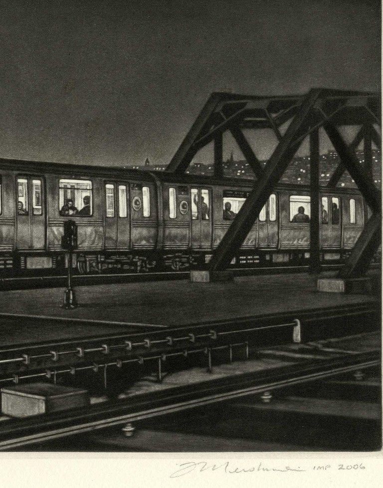 Manhattan Bound (the F train pulling into the Smith and 9th street station) - American Modern Print by Frederick Mershimer