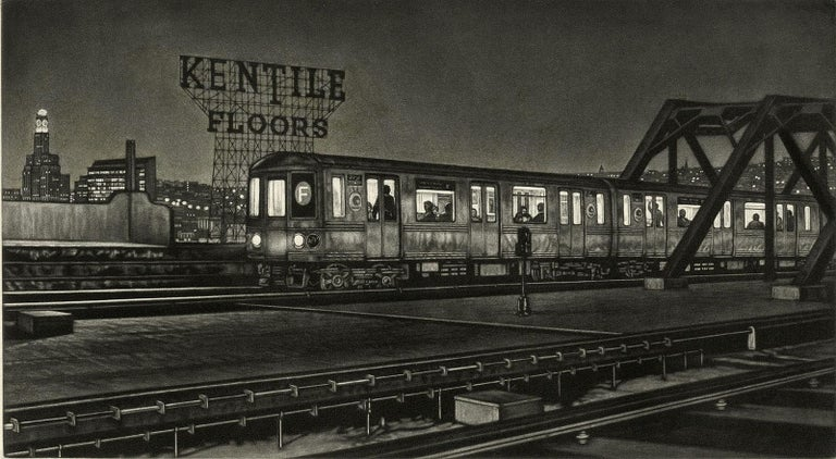 Frederick Mershimer Figurative Print - Manhattan Bound (the F train pulling into the Smith and 9th street station)