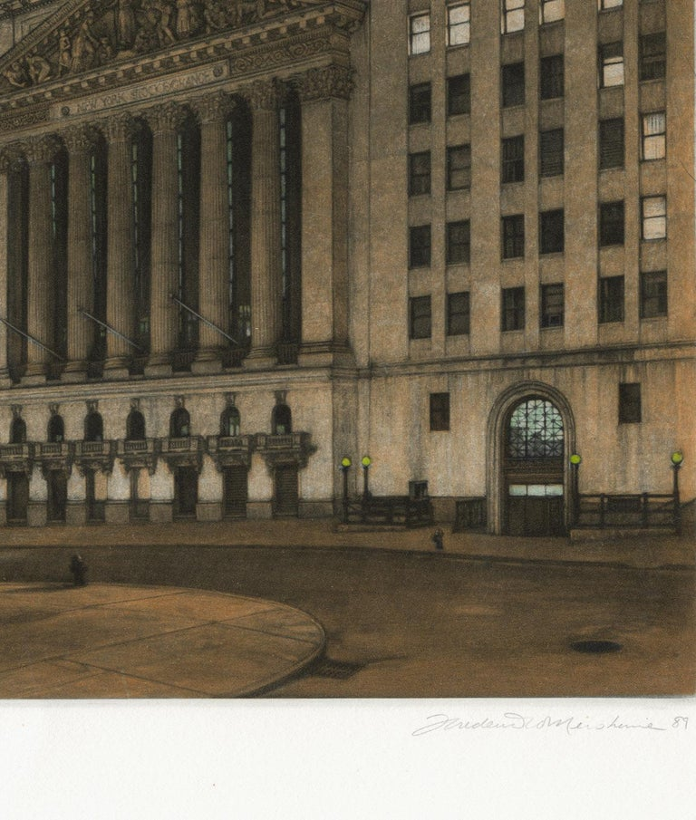 New York Stock Exchange (Symbolic icon of Wall St.'s vast power and wealth) - Black Landscape Print by Frederick Mershimer