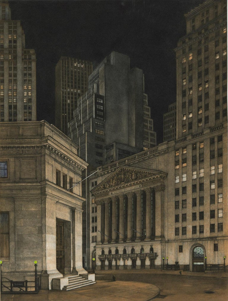 Frederick Mershimer Landscape Print - New York Stock Exchange (Symbolic icon of Wall St.'s vast power and wealth)