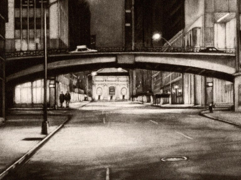 Passage (Inaugural Selection of Print Club of New York / E41st bet Lex and Park) - Black Figurative Print by Frederick Mershimer