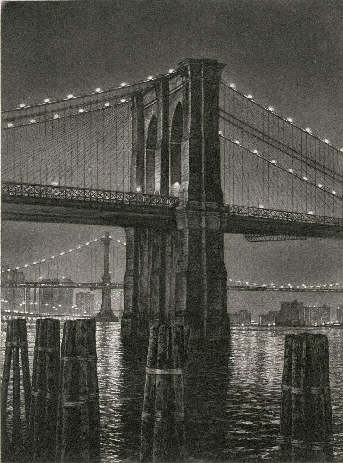 Pylon (Brooklyn Bridge from Manhattan side of East River near South St. Seaport)