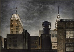 Rivals (The Chrysler Building rises in rivalry to looming lowly water towers)