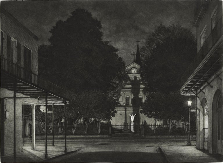 Frederick Mershimer Figurative Print - Sanctuary (St. Anthony's Garden at rear of St. Louis Cathedral on Royal Street)
