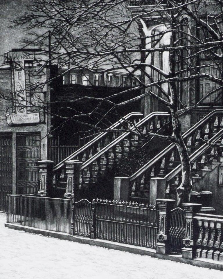 Still Night (Brooklyn brownstones on 7th Avenue off Flatbush Avenue) - Print by Frederick Mershimer