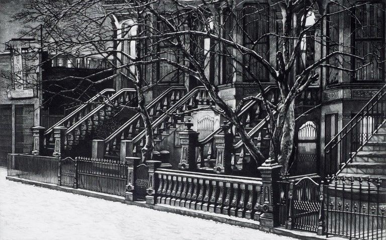 Frederick Mershimer Still-Life Print - Still Night (Brooklyn brownstones on 7th Avenue off Flatbush Avenue)