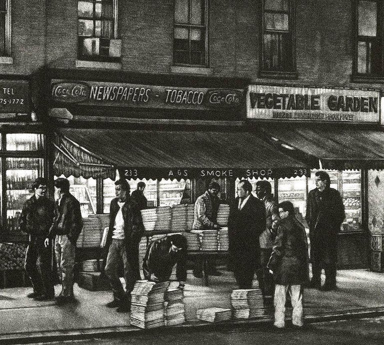 Sunday Times (Seeking The Gray Lady on Bleecker Street in Greenwich Village) - Print by Frederick Mershimer